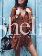 Shein Brown Long Sleeve Designer Pleated Dress
