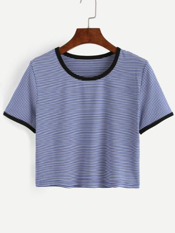 Shein Blue Striped Contrast Trim T-shirt