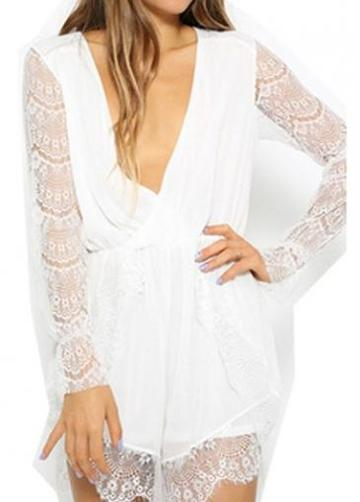 Rosewe Charming Deep V Neck Long Sleeve Woman Rompers