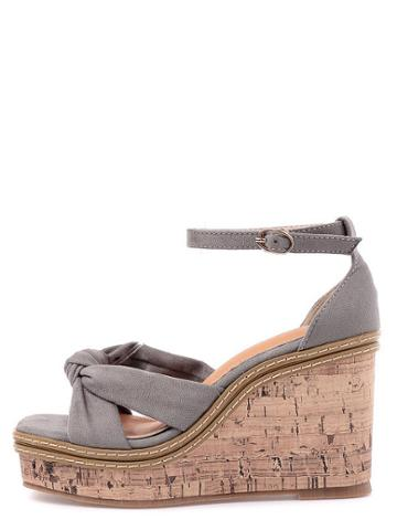 Shein Grey Peep Toe Buckle Strap Wedge Wedges