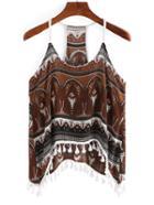 Shein Tribal Print Fringe Cami Top