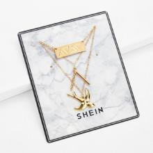 Shein Bird Pendant Layered Chain Necklace