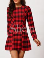 Shein Red Plaid Crew Neck A Line Dress
