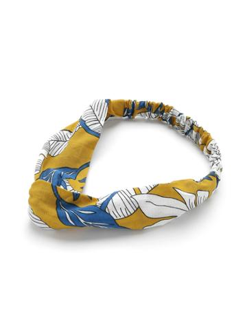 Shein Leaf Print Twist Headband