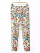 Shein Multicolor Floral Zipper Side Skinny Pants