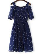 Shein Navy Cold Shoulder Ice Cream Printed Chiffon Dress