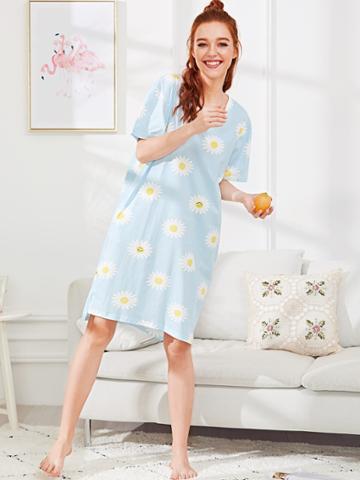 Shein Daisy Print Split Side Dress