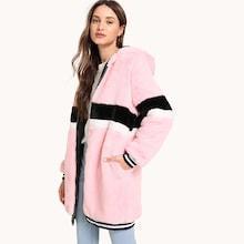 Shein Zip Up Striped Faux Fur Teddy Coat