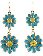 Shein Blue Glaze Gold Flower Dangle Earrings
