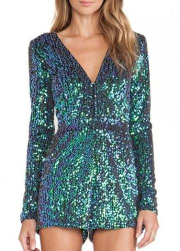 Rosewe Shining V Neck Long Sleeve Green Mini Rompers