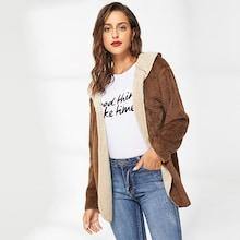 Shein Shearling Hooded Outerwear
