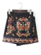 Shein Flower Embroidery Studded Detail Shorts