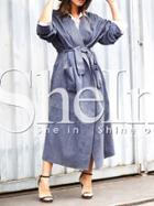 Shein Blue Long Sleeve Lapel Pockets Coat