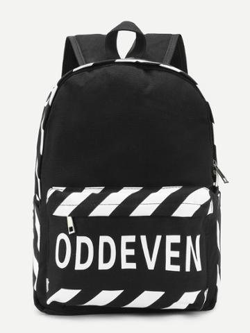 Shein Letter Print Stripe Detail Canvas Backpack