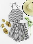 Shein Halter Neck Striped Bow Open Back And Shorts Set