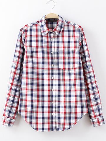 Shein Red Pocket Buttons Front Plaids Blouse
