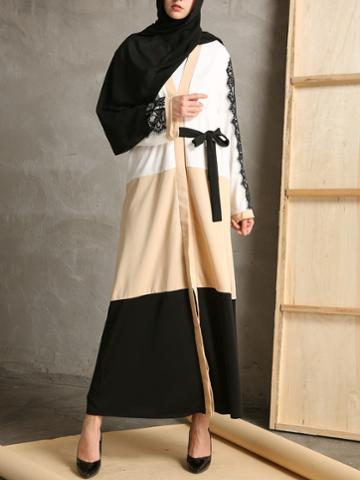 Shein Color Block Contrast Eyelash Lace Abaya With Belt
