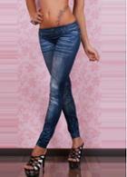 Rosewe Top Sale Scratched Pattern Blue Low Waist Leggings