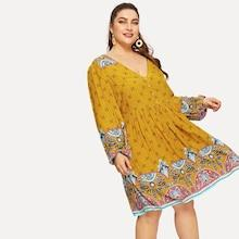 Shein Plus Tribal Print Plunging Neck Buttoned Dress