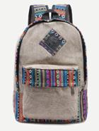 Shein Khaki Striped Embroidered Tape Detail Canvas Backpack