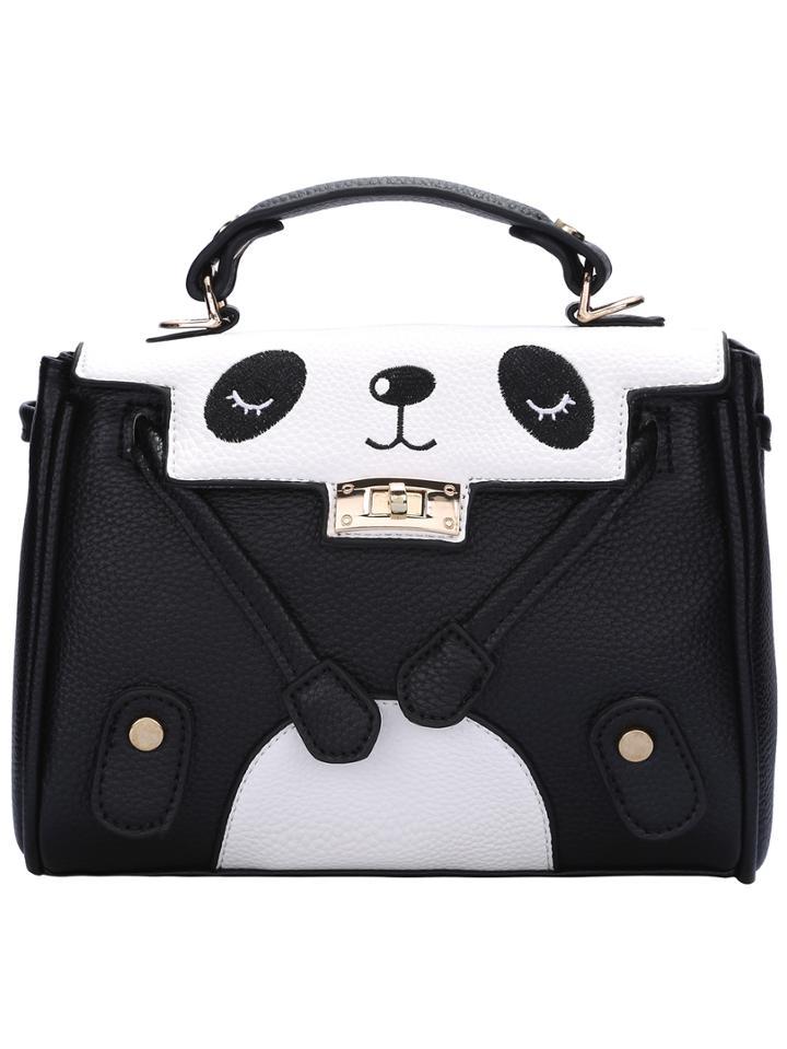 Shein Twist Lock Large Panda Shoulder Bag