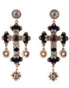 Shein Black Gemstone Gold Cross Earrings