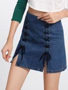 Shein Lace Up M-split Denim Skirt
