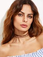 Shein Brown Layered Beaded Choker Necklace