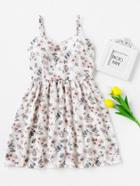 Shein Ditsy Print Shirred Back Cami Dress