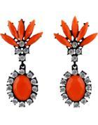 Shein Orange Gemstone Black Diamond Earrings