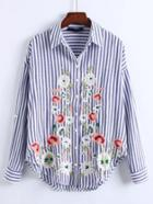 Shein Roll-up Sleeve Vertical Striped Blouse