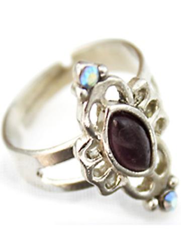 Shein Black Gemstone Silver Hollow Ring