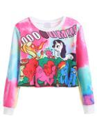 Shein Cartoon Print Crop Sweatshirt