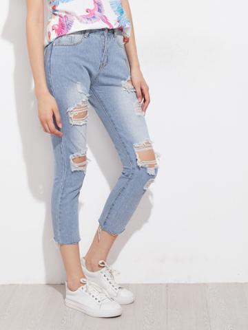 Shein Distressed Raw Hem Capri Jeans