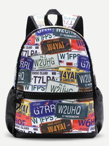 Shein Graphic Print Zipper Front Canvas Backpack