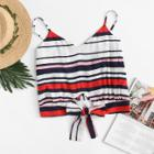 Shein Knot Front Striped Cami Top