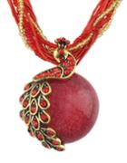 Shein Red Beads Pendant Necklace