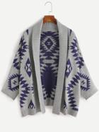 Shein Aztec Pattern Batwing Sleeve Sweater