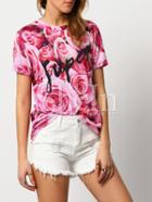 Shein Rose Pink Rose Print Casual Blouse