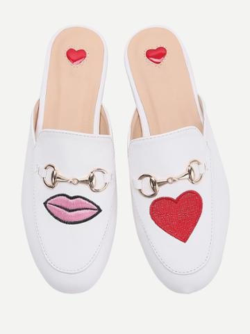 Shein White Heart And Lip Embroidery Loafer Mules