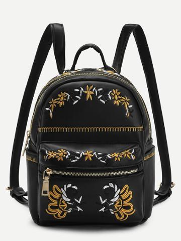 Shein Calico Embroidery Pu Backpack
