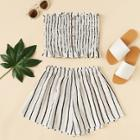 Shein Frill Trim Striped Tube Top With Shorts