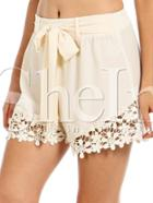 Shein Apricot Tie-waist With Crochet Lace Shorts