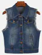 Shein Navy Sleeveless Buttons Denim Jacket