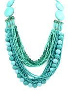 Shein Green Multilayers Bead Necklace