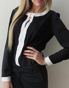 Shein Black Contrast Collar Pleated Chiffon Blouse