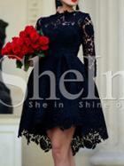 Shein Black Crew Neck Lace Pouf Dress