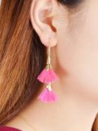 Shein Pink Tassel Geometric Shape Drop Earrings