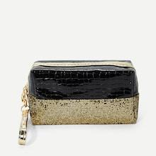 Shein Sequin Decorated Two Tone Makeup Bag
