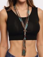 Shein Turquoise Braided Boho Style Necklace